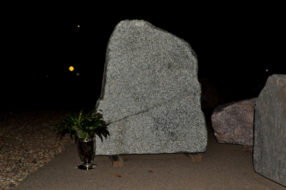 Granite Boulder Made Into Sign